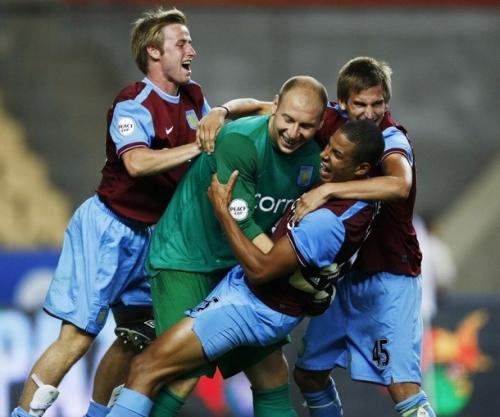 Aston Villa celebrate winning the 2009 Peace Cup